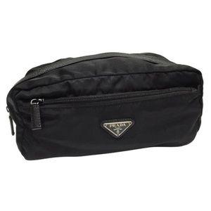Prada black Tessuto nylon saffiano cosmetic bag